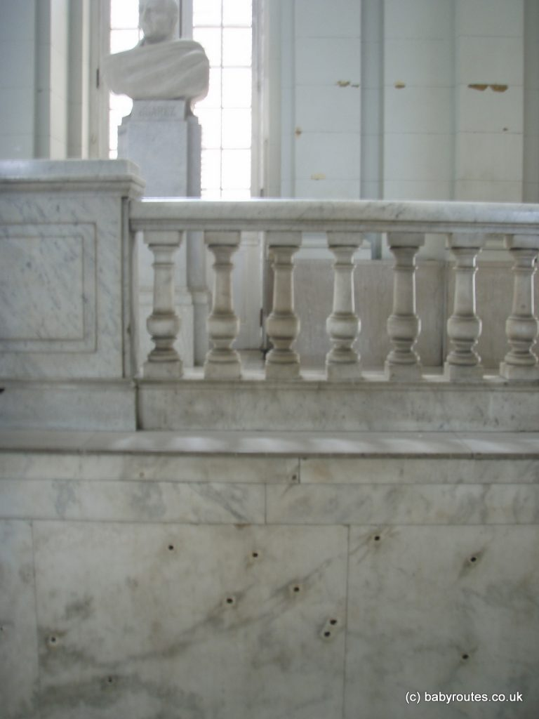 Bullet holes in the Museo de la Revolucion, Havana, Cuba