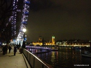 London Eye and Big Ben at night from the Thames Path on South Bank