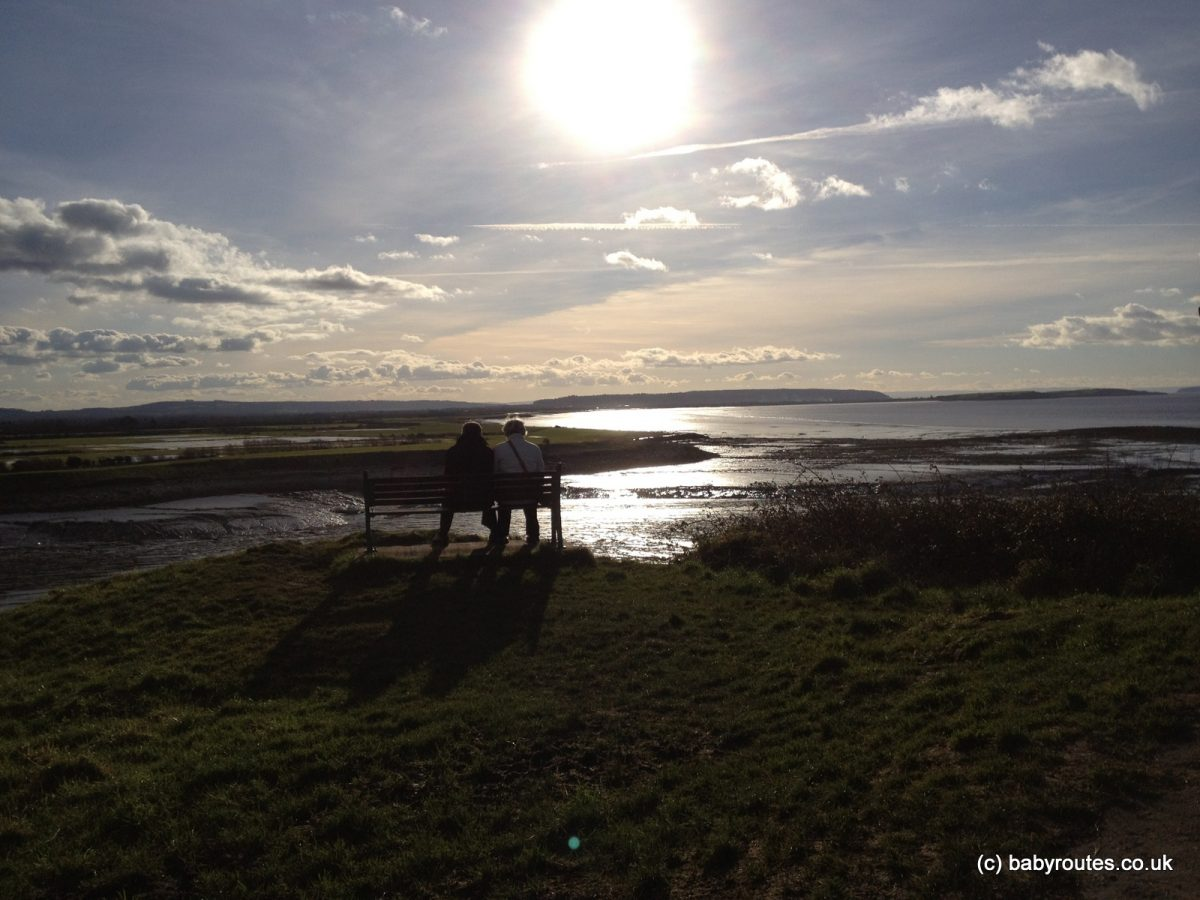 Bench and view of the mudflats, Poets Walk, Clevedon