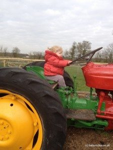 riding the tractor at Odds Farm