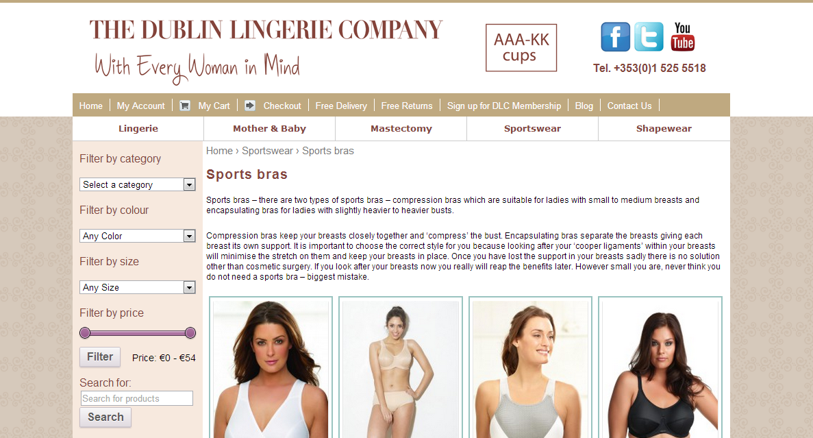 The Dublin Lingerie Company website screen grab