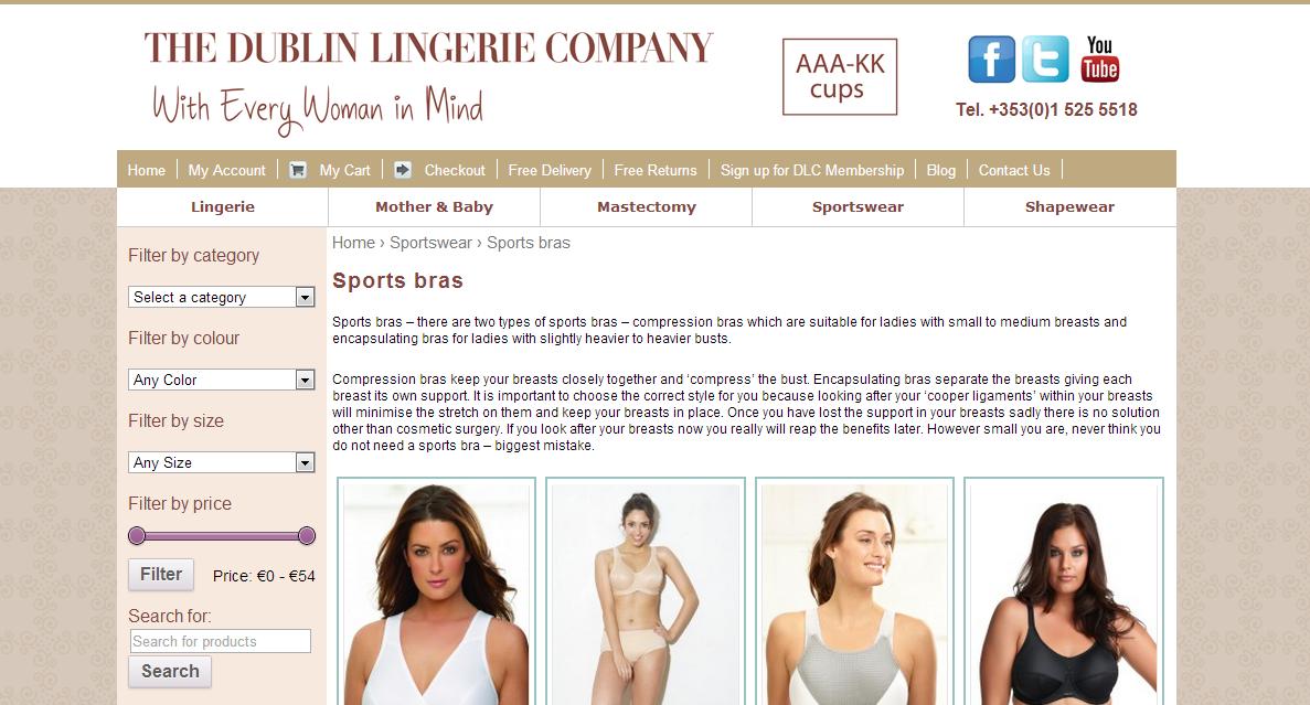 The Dublin Lingerie Company website screen grab