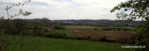 Views across farmland back to Reading, Caversham to Mapledurham walk, Oxfordshire