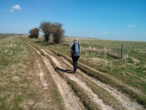 Rutted path walking on the Ridgeway, Overton Hill