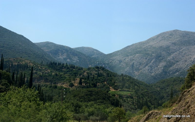 Kefalonia 's inland mountainous scenery.