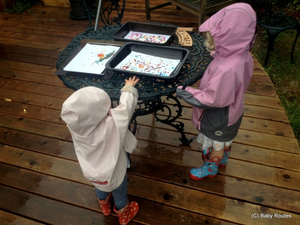 rain painting with food colouring, rainy day activities for preschoolers, Baby Routes