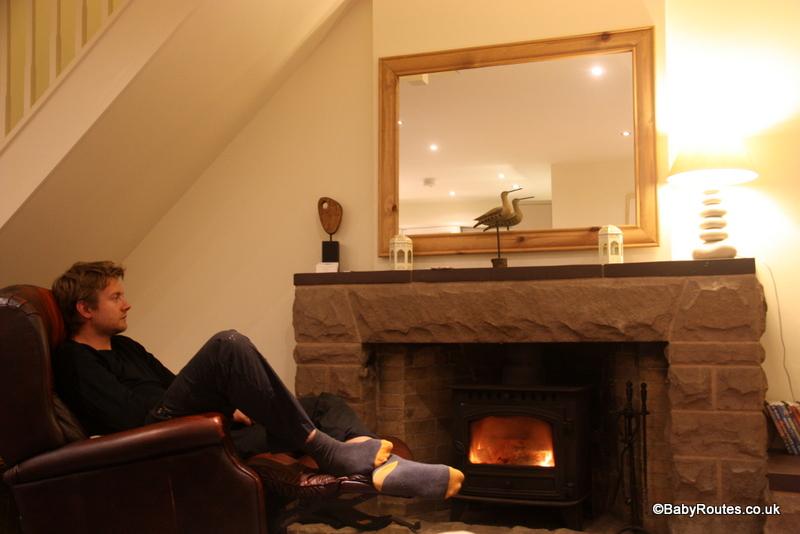 Fireside relaxation at Brackenhurst, West Runton, Norfolk Winter Weekend