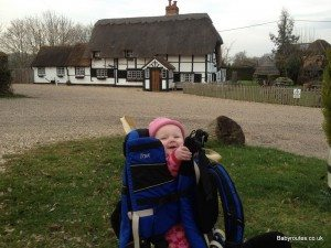 Baby in Kelty Kids carrier at Bottle and Glass pub, Binfield Heath
