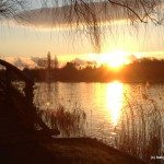 Winter sunset on Thames Path, Henley Regatta walk, Henley on Thames