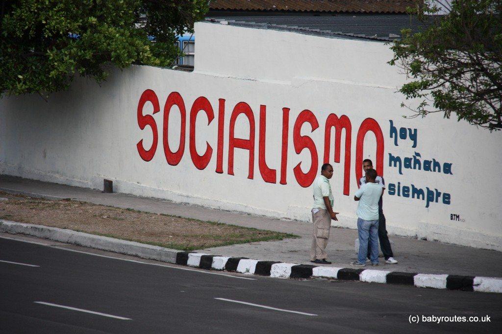 Photo of socialist slogan, Havana, Cuba