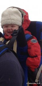 Baby in rucksack on a winter walk