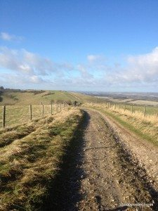 Photo of the Test Way path at Walbury Hill, Berks.
