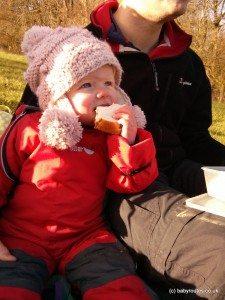 photo of baby having a picnic