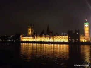 Photo of Houses of Parliament at night from Thames Path