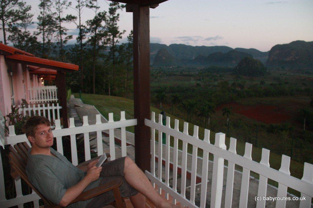 Enjoying views from veranda, Hotel Los Jazmines, Vinales, Pinar del Rio,Cuba