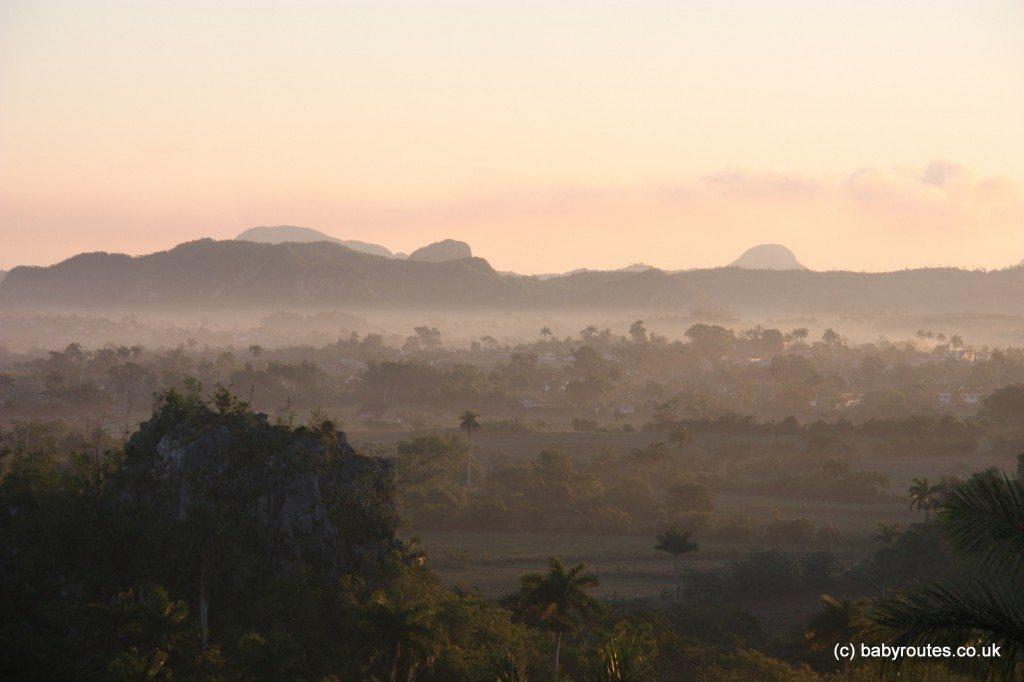 Dawn view from our room, Los Jazmines, Vinales, Pinar del Rio, Cuba