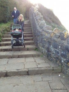 Steps on poets walk, pushchair, Clevedon