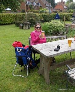 Enjoying a pint of cider at the family & walker friendly Bottle & Glass (Binfield Heath) whilst Roo sleeps in the backpack after a long walk!