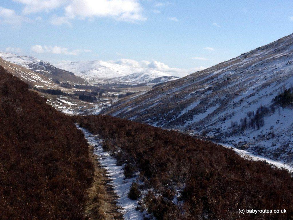 Railway line, Glenlochsie Lodge & forest walk, Spittal of Glenshee, Cairngorms, Scotland