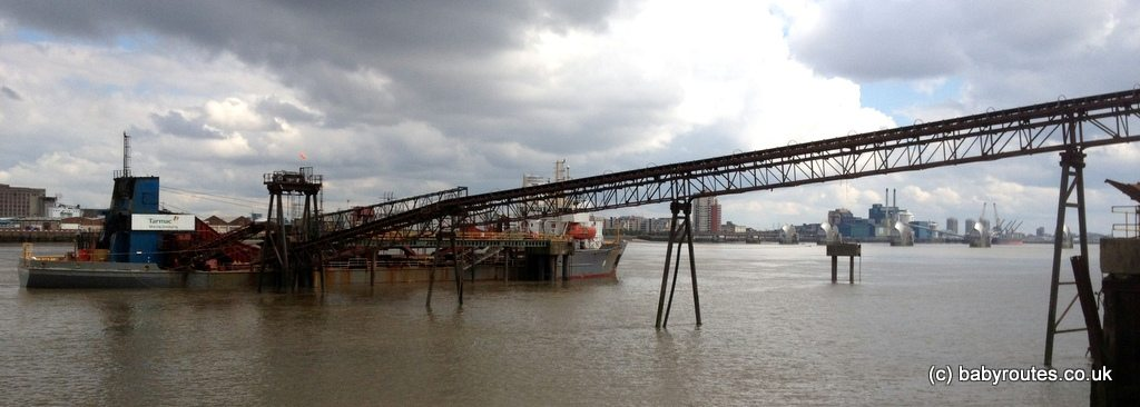 Dredgers at work on the Thames National Path, Greenwich