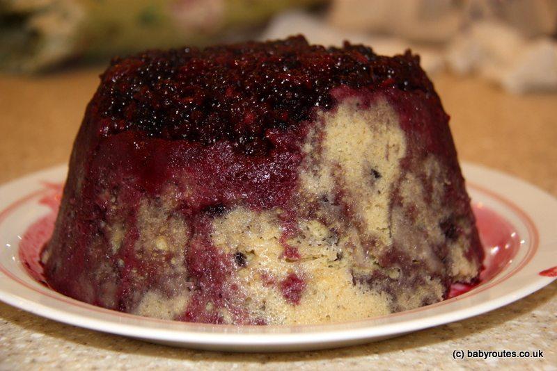 Super-fast blackberry upside down cake pudding