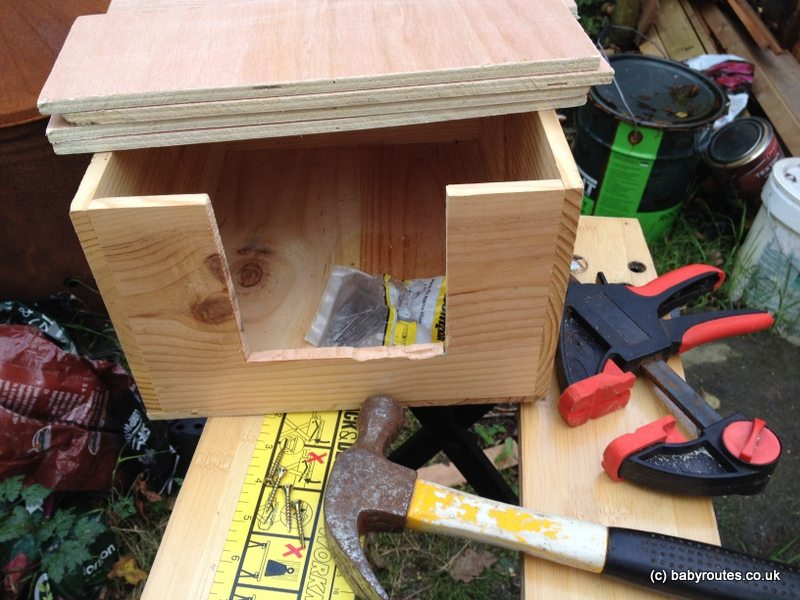 wine crate for building hedgehog box