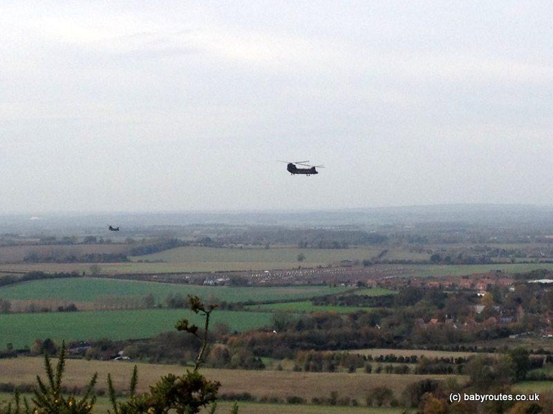 Chinooks over Watlington Hill Walk, Oxfordshire
