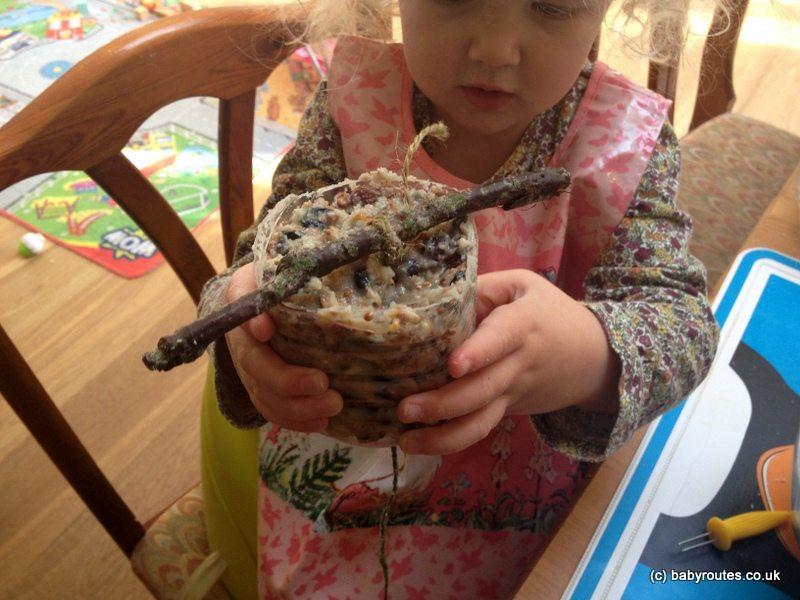 Making bird pudding, bird food