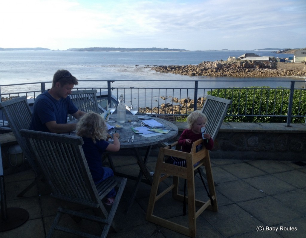 Evening meal with a view at Tregarthen's Hotel, St. Mary's, Isles of Scilly