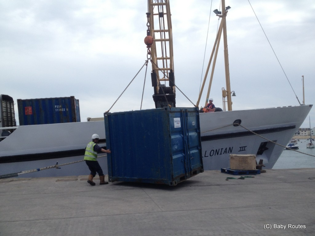 Unloading freight, Scillonian III Isles of Scilly Travel