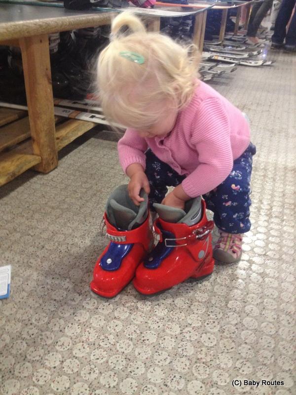 Trying on ski boots, Indoor skiing with children, The Snow Centre, Hemel Hempstead