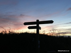 Footpath sign at sunset. Norfolk Winter Weekend