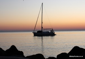 Sailing in Greece, sunset
