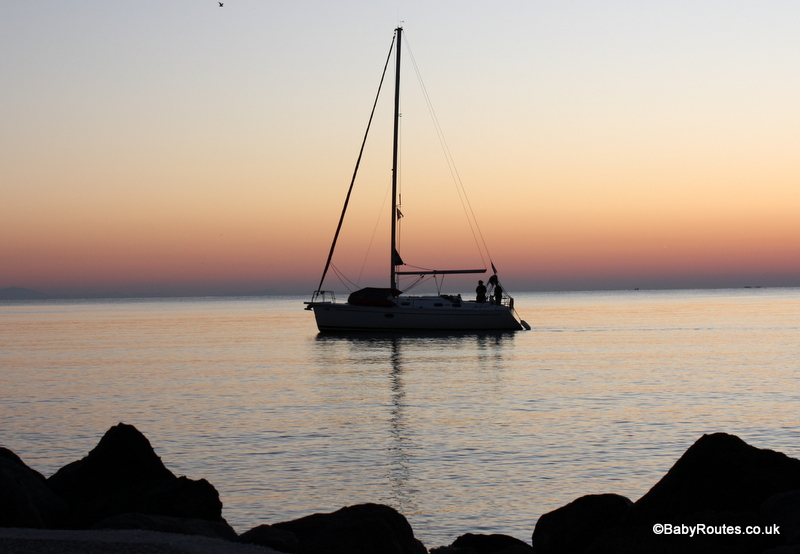 Sailing in Greece, sunset, cruising with children