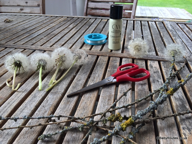 nature crafts and activities, how to make a nature mobile