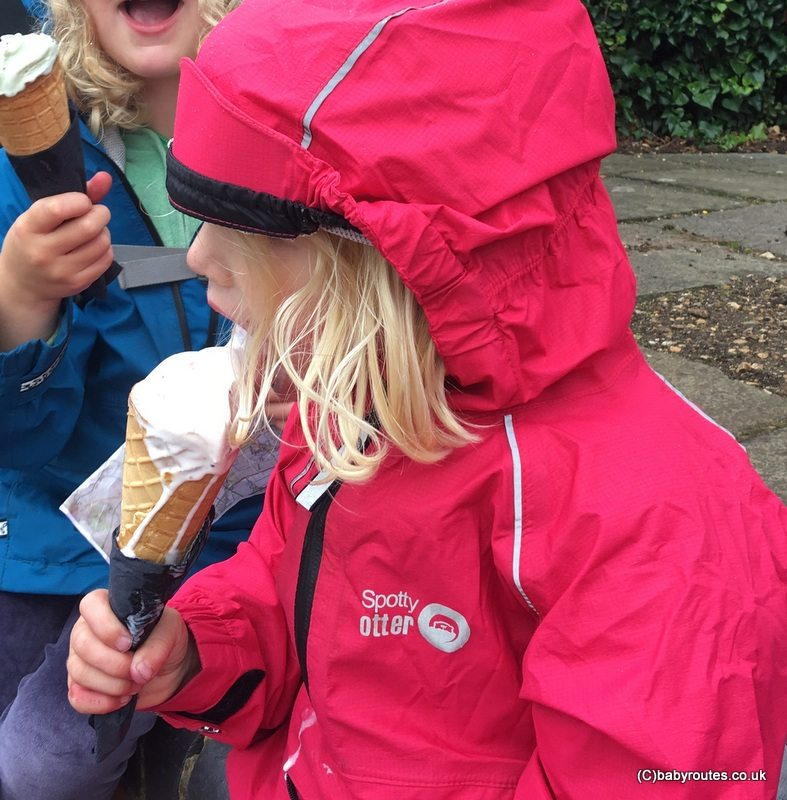 Camping tips - eating ice cream in the rain!