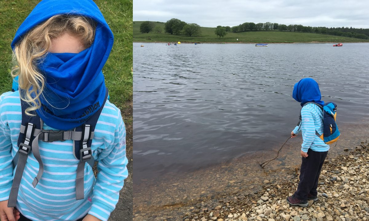 Hiding from midgies at Kielder Water!
