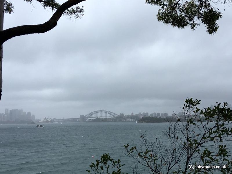 Views back down to Sydney Harbour Bridge from Bradleys Head Walk, Sydney Australia