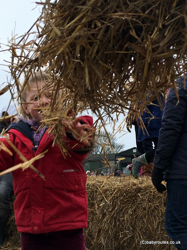 Straw bales fun at the Lambing Weekend, Earth Trust