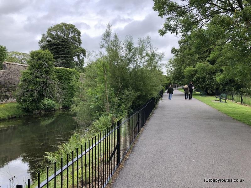 moat, Wells Bishops Palace Circular Walk, Wells, Somerset, UK.