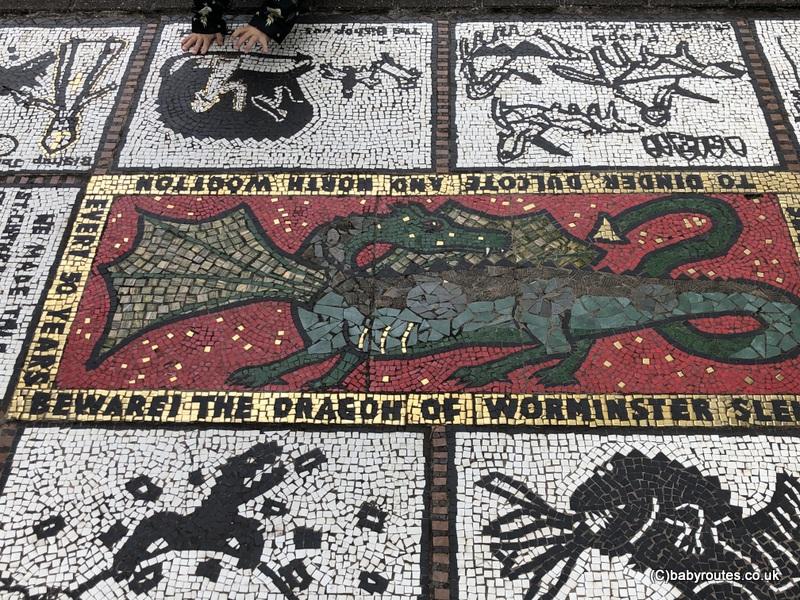 Dragon of Worminster Sleight, mosaic, Wells Bishops Palace Circular Walk, Wells, Somerset, UK.