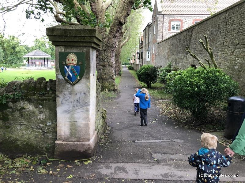 path to recreation ground, Wells, Wells Bishops Palace Circular Walk, Wells, Somerset, UK.